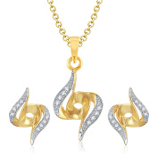 V. K. Jewels Bollywood Fashion Women's Amazing Gold And Rhodium Plated Pendant Set With Earrings