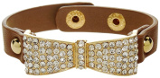 Bracelet - Brown Leather with Rhinestone Crystal Encrusted Bow - Kiki's Bow Baby