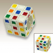 Rubiks Cube Bead Charm 925 Sterling Silver