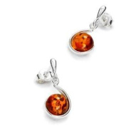 Sterling Silver and Round-shaped, Cognac Amber Earrings