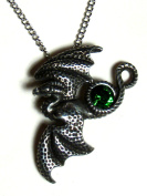 Soaring Dragon Pendant with Green Crystal