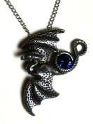Soaring Dragon Pendant with Blue Crystal