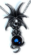 Majestic Dragon Pendant with Blue Crystal
