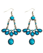 Handmade Silver-plated Turquoise Linear Earrings, 'Turquoise Blossom'