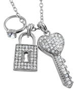 Silver Tone Juicy Style Crystal Key, Padlock, Engagement Ring Charms Necklace for Teens and Women