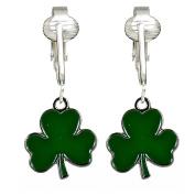 Green Lucky Shamrock Clip On Earrings-Irish Clover Saint Patrick's Clip Earrings, Kids, Girls, Adults