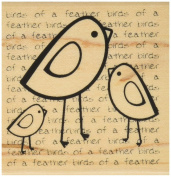 Hampton Art Birds Of A Feather Wood Rubber Stamp