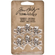 Adornments for Arts and Crafts by Tim Holtz Idea-ology, Crossbones, 6-Pieces, 1.9cm x 1.9cm Each, Antique Nickel, TH93089