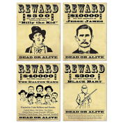 Wanted Sign Cutouts (4/Pkg)