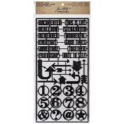 Framed Alpha Parts by Tim Holtz Idea-ology, 34 Pieces, Letters, Numbers, Symbols, 15cm x 30cm Sheet, Black, TH93117