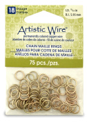 Artistic Wire 18-Gauge Non-Tarnish Brass Chain Maille Rings, 0.6cm Diameter, 75-Pieces
