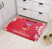 Red colour wedding doormat featured with bride and bridegroom suitable for indoors and outdoors 40*60cm , costume bride and groom