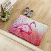 Non-slip and water absorbent entrance door mat featured with flamingo suitable for indoor and outdoor use(50*80cm) , pink flamingo