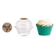 Dress My Cupcake 24-Pack Kraft Dessert Table Label Kit, Includes Favour Dome Containers, Thank You! Label and Aqua Wrapper