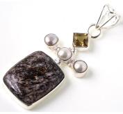 StarGems(tm) Natural Agate, River Pearl and Citrine Unique design 925 Sterling Silver Pendant 5.7cm