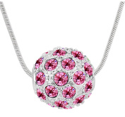 Sojewe Fashion Jewellery Silver tone Ball Shaped Pendant Necklace Pink Elements Crystal 46cm Chain for Women,Girlfriend,Mom or Teen girl