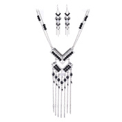 SunIfSnow Women Fashion Personality Exaggerated Black Beads Long Tassel Necklace & Earrings Silver