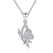 Simulated Diamond Butterfly Pendant Necklace Set