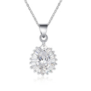 Simulated Diamond Pear Shaped Pendant Necklace