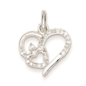 925 Sterling Silver Polished CZ Double Heart Charm Pendant
