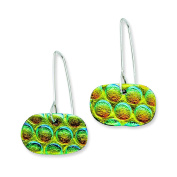 Sterling Silver Multicolor Dichroic Glass Round Dangle Earrings