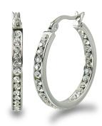 S.Michael Designs Stainless Steel 2.5cm Inch Inside Outside Crystal Hoop Earring