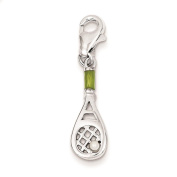 925 Sterling Silver Simulated Pearl Tennis Racquet Polished Enamel 22mm x 8mm Charm
