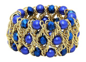 Layered Coloured Imitation Pearl Bead Goldtone Twisted Chain Stretch Bracelet