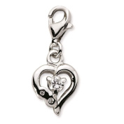 925 Sterling Silver Click-on CZ Polished Heart w/ Lobster Clasp Charm - Amore La Vita Collection