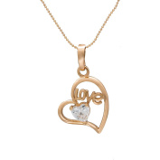 "Romantic Time ""Love"" Womens 18k Rose Gold Plated Diamond Heart Pendant Necklace"