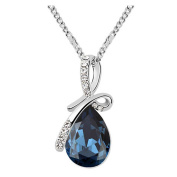 Sojewe Fashion Jewellery Silver tone Bow Teardrop Pendant Necklace Navy Blue Elements Crystal 46cm Chain for Women,Girlfriend,Mom or Teen girl