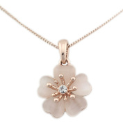 Latigerf Jewellery Women's Moonstone Flower of Plant Pendant Necklace Rose Gold Plated