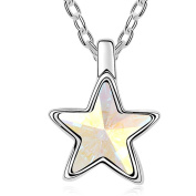Latigerf Star Pendant Necklace White Gold Plated Elements Crystal Mulitcolor-white