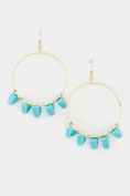 GlitZ Finery Circle with Turquoise Accent Dangle Earring