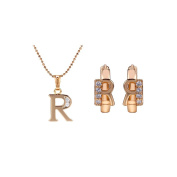 Romantic Time CZ Channel-Set 18k Rose Gold Plated Alphabet Necklace Earring