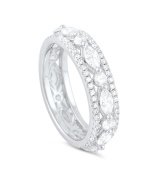 Sterling Silver Simulated Diamond Marquise and Round Eternity Ring -