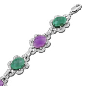 Jewelili Synthetic Green Quartz, Synthetic Amethyst and White Clear Crystal Sterling Silver Bracelet