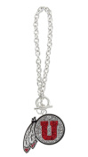 University of Utah Crystal Feather Logo Toggle Chain Bracelet with Red and Clear Crystals