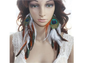 Natural Feather Earrings Double Colour Feather Earrings for Women
