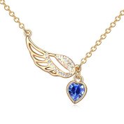 Sojewe Fashion Jewellery Gold tone Angel Wing Heart Y Necklace Navy Blue Elements Crystal 46cm Chain for Women,Girlfriend,Mom or Teen girl