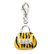 925 Sterling Silver Click-on CZ Enamel 3-D Tiger Purse w/ Lobster Clasp Charm - Amore La Vita Collection