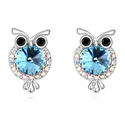 Sojewe Women Owl Stud Earring Blue Elements Crystal White Gold Plated