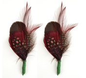 Touch of Nature 2-Piece Feather Pick with Nylon Loop for Arts and Crafts, 4 to 13cm , Apricot/Burgundy/Wood