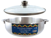 Euro-Ware Stove Top Heavy Gauge Aluminium Caldero with Removable Glass Lid and Built in Steam Vent, 9l, Silver
