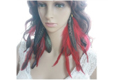 Long Feather Earrings for Women Peacock Red Natural Feather Earrings