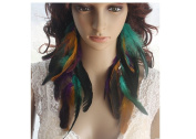 Long Feather Earrings for Women Colourful Natural Feather Earrings
