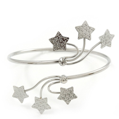 Silver Plated Textured Diamante 'Stars' Armlet Upper Arm Cuff Bracelet - Adjustable