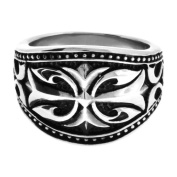 316L Stainless Steel Ornate Ring With An Antique Finish And With A Gothic Cross In The Centre - Size