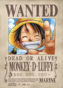 Great Eastern Entertainment One Piece Luffy Wanted Wall Scroll, 80cm by 110cm