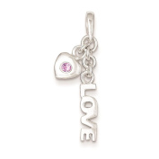 925 Sterling Silver Polished Love And Heart With Pink CZ Charm Pendant